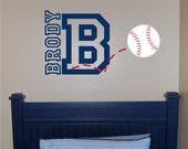 Baseball Name & Initial Wall Decal (MEDIUM) - Baseball Wall Decal - Sports Wall Decal - Personalized Baseball Wall Decal - Vinyl Wall Decal