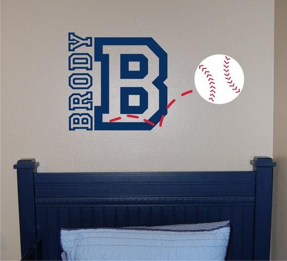Baseball Name & Initial Wall Decal - Baseball Wall Decal - Sports Wall ...
