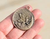 BULK 10 Antique Bronze Fairy Moon Pendants BC3403