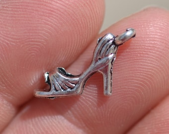 10 Silver High Heel Sandal Charms SC3212