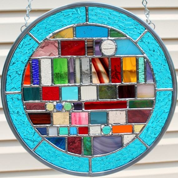 Multicolored Round Geometric Stained Glass Panel By