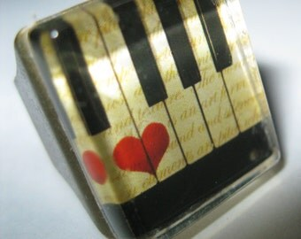 KEYBOARD Ring // Piano Keys With Heart // Scrabble Tile Size Image Under Thick Glass // Securely Mounted On Ox Brass Sturdy Base