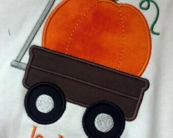 Pumpkin Wagon Boys Girls Personalized shirt