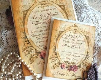Romantic Vintage Wedding Invitation Suite Handmade by avintageobsession on etsy