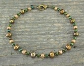 Bronze Pearl Anklet with Czechoslovakian Glass - Size X-Small to X-Large Ankle Bracelet or Plus Size Anklet - Cheap Anklet, 9-14 Inches