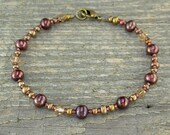 Copper Anklet - Copper Ankle Bracelet in Copper Pearls, Crystal, and Glass - Small to Large Size Anklet - 9, 10, 11, 12, 13, or 14 Inches