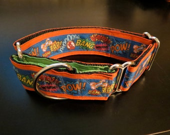 Comic Book POW! Martingale Dog Collar (Med)