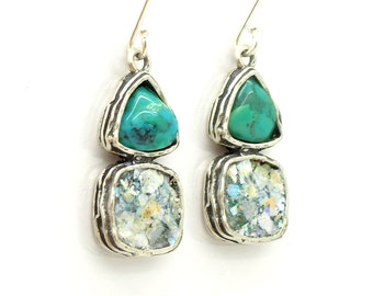 Turquoise earrings with roman glass set on silver
