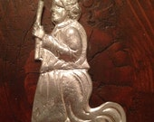 Woman praying devotional milagro for  prayers answered. Silver Ex Voto