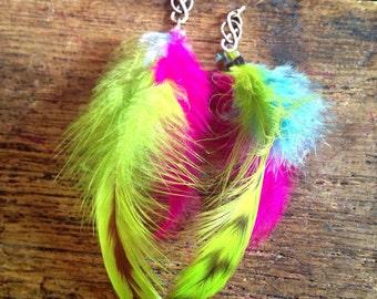 Bright handmade feather earrings