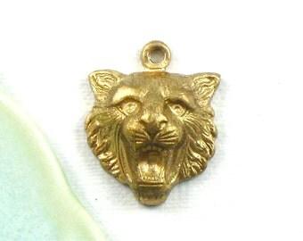 3 brass LION jewelry charms . 17mm x 14mm (ST12). Please read description