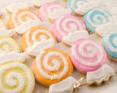 Candy Swirl Cookies, Birthday - 12 Decorated Sugar Cookies