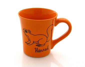 squirrel mug, personalized, orange, funny woodland creature, large 16 oz kiln fired coffee mug
