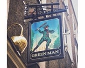 Green Man London Pub Sign Photography, Rustic Quirky Home Decor, Bar Sign Photograph, England UK Travel Photo, Green and Brown Rustic