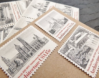 Architecture in Black and White .. UNused Vintage Postage Stamps  .. post 5 letters