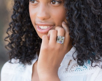 As Seen On The Vampire Diaries' Abby Bennett. Boldly Poignant Poinsettia Chiyogami Paper Glass Ring. Gunmetal Adjustable Wide Band Ring.