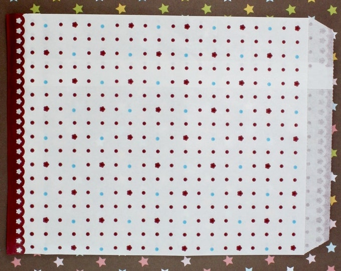 Maroon Polka Dot/Flower Paper Bags