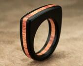 Flat Top Ebony Tulipwood Ring - 6mm