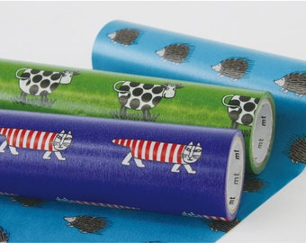 mt Wrap - Washi Wrapping Paper - Mikey the Cat, Iggy the Hedgehog & Cow - Small Box