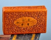 carved wood box...   for shadow boxes, storage, organization... t8 L