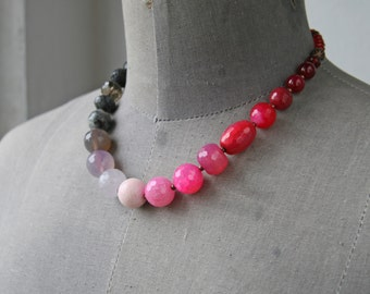 Beaded Necklace Statement Necklace Pink Beaded Necklace Graduated Necklace Chunky Necklace Pink Ombre Necklace