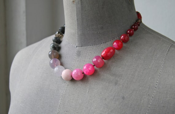 Grey Pink Necklace Beaded Statement Necklace Pink Jewelry Faceted Necklace Neon Pink Necklace Ready to Ship