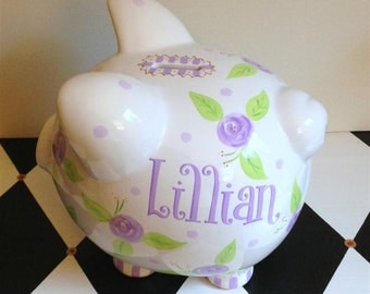 Rose Piggy Bank Size Large in Lavender and Purple