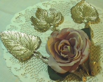 Vintage Silver Plated  Hostess Serving Set - Set of 3 - VERY  UNIQUE - Leaf Design - Possible Wall Hangings