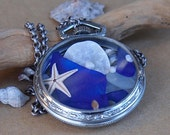 Sea Glass Pocket Watch Pendant Two Sided Antique Summer Blues