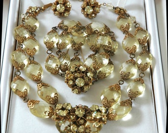 Vintage Miriam Haskell NY Couture Earrings, Necklace, Bracelet, Citrine Glass Stones, Russian Gold Filigree, Hand Wired, Collector Condition
