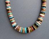Chunky Tribal Heishi Necklace. Turquoise, Mother of Pearl, Earth Tone Stones. Hand Cut.
