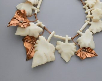 Gerda Lynggaard Necklace. Copper & Bone Leaves. Monies. Statement.