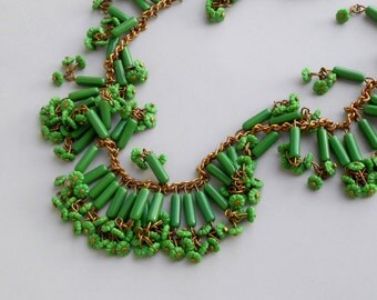 Art Deco Necklace. Haskell Style Green Glass with Flowers.