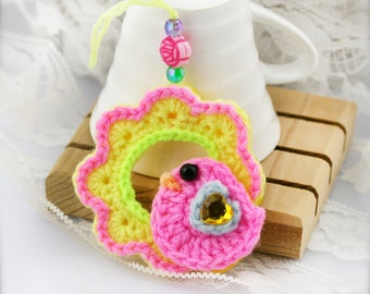Crochet bird on wreath ornament x 4 (Combo B)