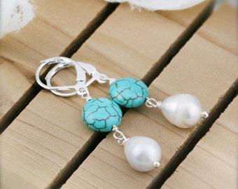 Sound of the ocean earrings - freshwater pearl and turqurenite