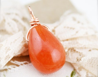 Orange candy quartzite (unisex) necklace