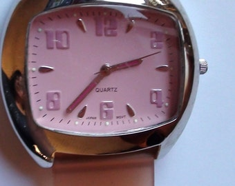 "PINK Silicon Wrist Watch Working New battery installed Modern Huge Face 2"" X 1 1/2"" Band 1"" wide  On SaLe Now"