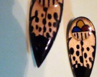 Fantastic Wood  Earrings Handpainted and Enamel Pierced Post On Clearance Now