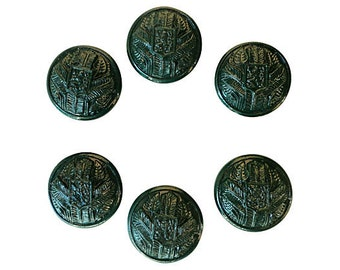 Antique Glass Buttons - 6 Early 1900s Lion Coat of Arms Vintage Buttons 7/8 inch 22mm for Jewelry Beads Sewing Knitting