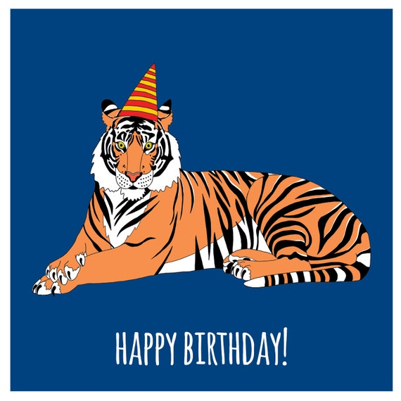 Items Similar To Tiger In A Party Hat Birthday Card On Etsy