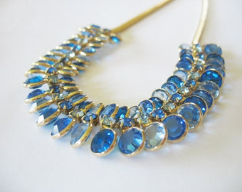 Vintage Blue Crystal Necklace Sapphire Rhinestones 1960's Ombre