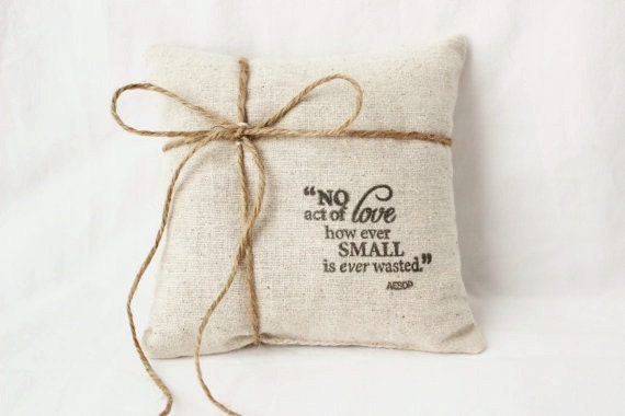 Rustic Ring Bearer Pillow, Aesop Quote, Lavender Jasmine Rose Wedding Ring Pillow