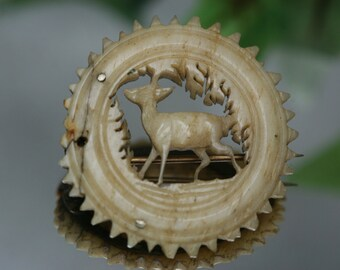 Antique Carved Antler Brooch
