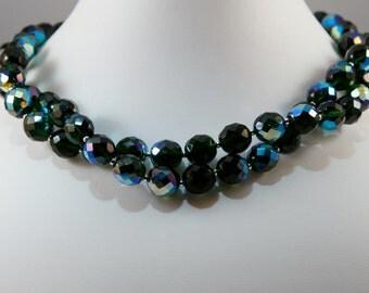 Emerald Green Fire Polished Czech Glass Necklace