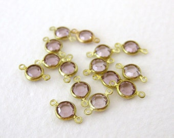 Glass Vintage Bead Drop Light Amethyst Channel Connector Charm Faceted Brass 4mm vgb0643 (15)