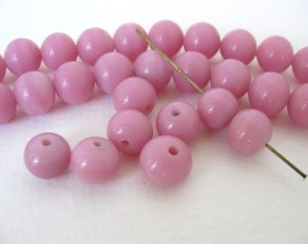 Vintage Japanese Beads Cherry Brand Rose Pink Glass Rounds 10mm vgb0731 (6)
