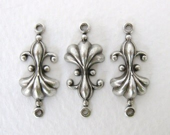 Antiqued Silver Ox Fleur De Lis Flower Connector Plated Finding Vintage Style 23mm cnn0065 (6)