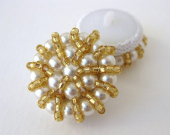 Vintage Button Ivory Pearl Gold Seed Beads Bridal Sewing Shank 25mm but0194 (2)