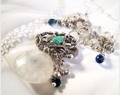 Sterling Silver Gemstone Necklace sapphire, topaz, moonstone, freshwater pearls, chrysoprase, solar quartz