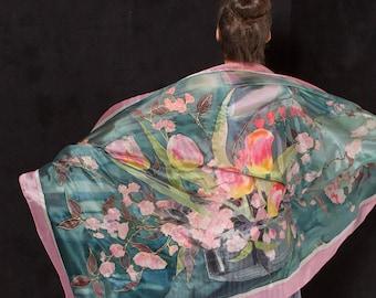 Hand painted Silk Shawl- Blossomed Tulips/ Emerald Silk scarf/ Floral silk shawl/ Designer scarf/ Luxury scarf/ Unique handmade scarf KA1617